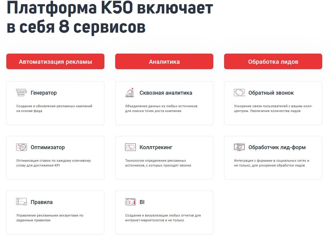Сервисы К50