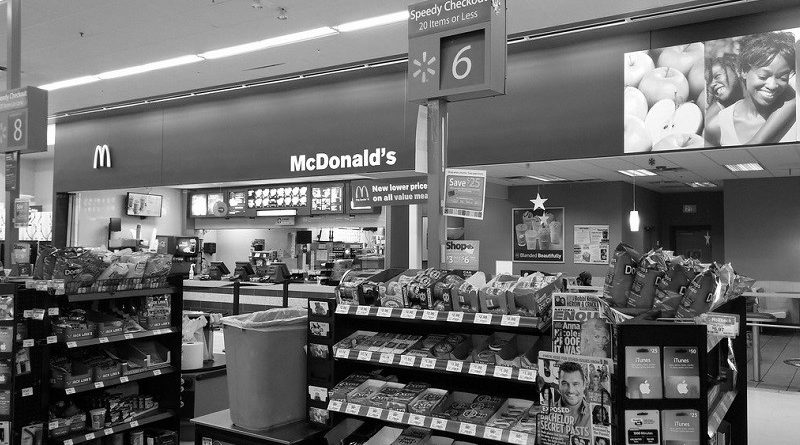 McDonald's in Walmart_bw_